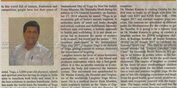Achyuta Samanta's  thought on Laughter Yoga in The Telegraph