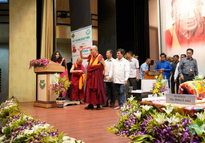 His Holiness The Dalai Lama Entering to the stage to address tibetan people from Odisha